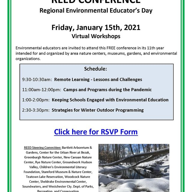 REED is going virtual! Check out the flyer for the 11th Annual Regional Environmental Educator's Day to be held on January 15th. #environmentaleducation #workshops #educators #virtuallearning #professionaldevelopment